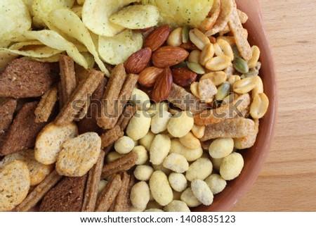Set of snacks for beer