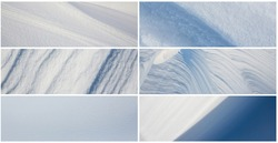 Set of snow textures. Collection of panoramic winter backgrounds with snowy ground. Beautiful wide panoramas with natural textures of clean fresh snow and wind-sculpted patterns on a snowy surface.
