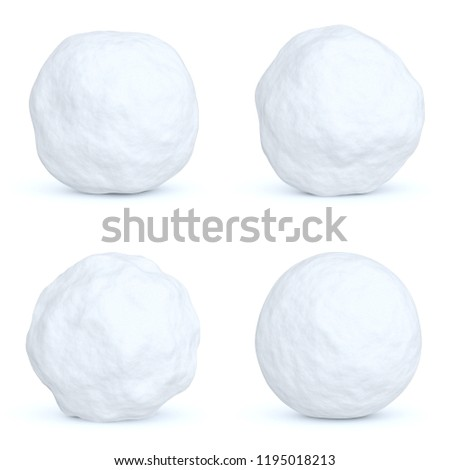Set of snowballs with shadows isolated on white background, 3D illustration