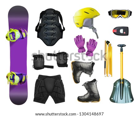 Set of snowboard equipment and avalanche gears isolated on white background
