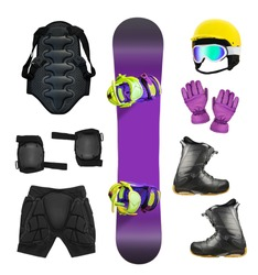 Set of snowboard equipment and protection isolated on white background. Extreme sport clothes and accessories