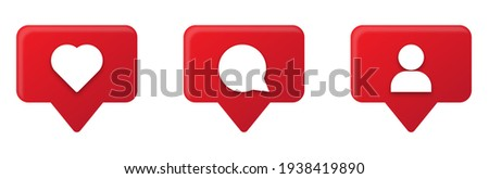 Set of social media notification icons. Comment, like and follower symbol for app and web site.  Foto stock ©