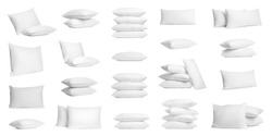 Set of soft pillows isolated on white