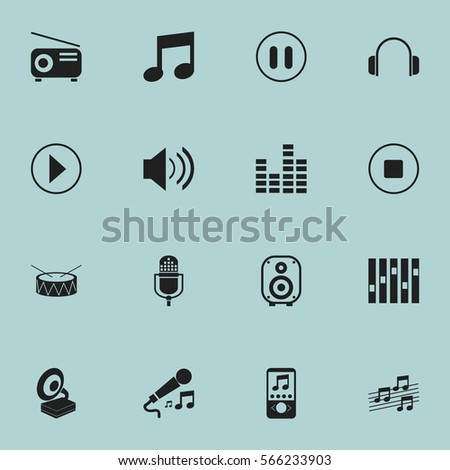 Set Of 16  Song Icons. Includes Symbols Such As Snare, Speaker, Music Phone And More. Can Be Used For Web, Mobile, UI And Infographic Design.