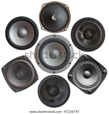 set of sound speakers isolated on white background