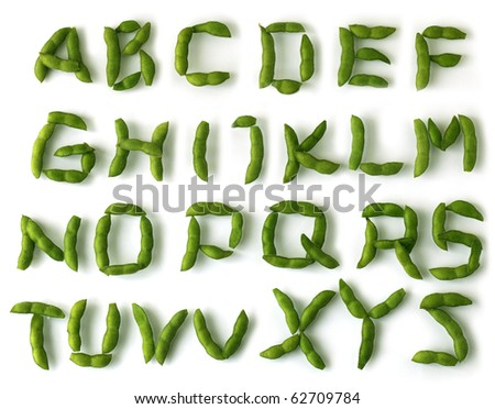 Set of soybean alphabet letters over white background