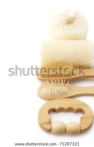 Set of SPA accessories on white background.
