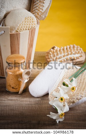 Set of spa accessories on wooden background