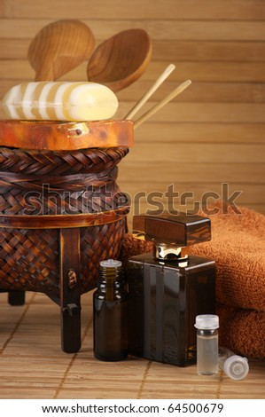 Set of SPA accessories on wooden background.