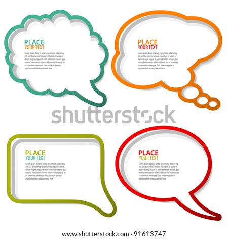 Set of speech and thought bubbles, element for design, raster version