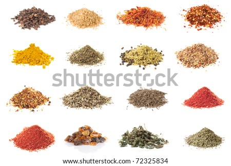 Set of spices heaps isolated on white background