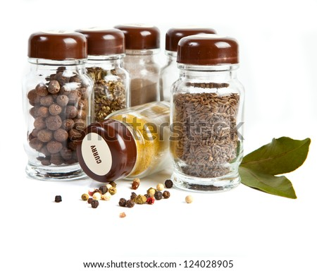 Set of spices isolated on white background