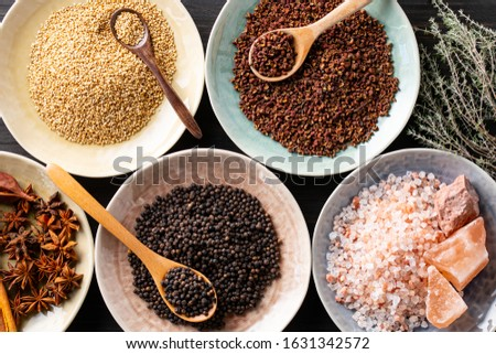 Set of spices on wood background.Top view.Organic spice concept.