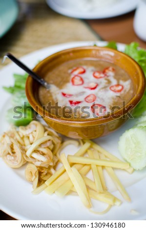 Set of spicy sauce with vegetables , Thai style food , also know as Nam prik