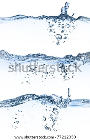 set of splashing water with bubbles on white background