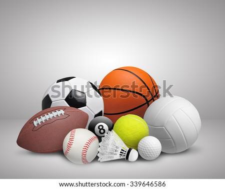 set of sport balls on gray...