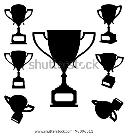 Set of Sport Cups Silhouettes on White Background. Rasterized Version