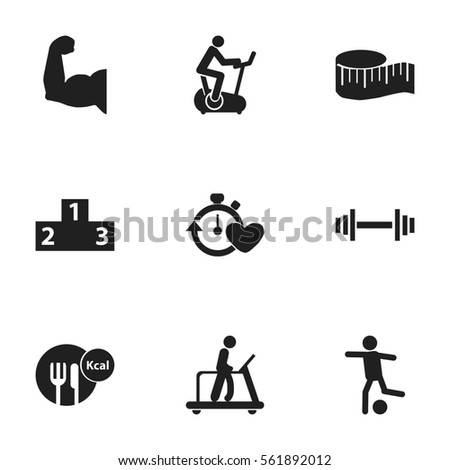 Set Of 9  Sport Icons. Includes Symbols Such As Health Time, Training Bike, Platform For Winner And More. Can Be Used For Web, Mobile, UI And Infographic Design.