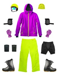 Set of sport ski clothes and equipment isolated on white background. Bright color snowboard gears
