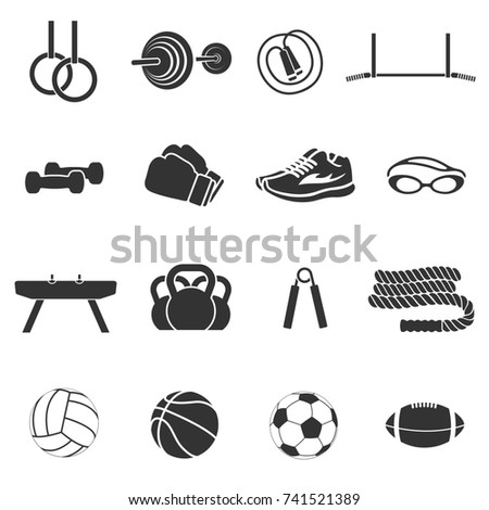 Set of sports inventory. Black icons on a white background.