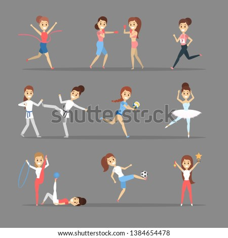 Set of sportsmen. People doing different kind of sport: play basketball, boxing, running and winning the competition. Gymnastics and ballet. Flat  illustration