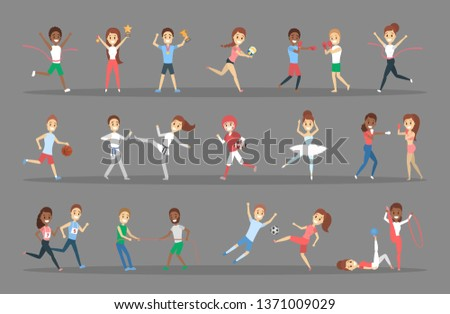 Set of sportsmen. People doing different kind of sport: play basketball, doing gymnastic, running and winning the competition. Flat  illustration