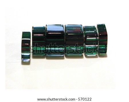 Set of square cane glass beads.
