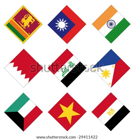 set of 9 square flags