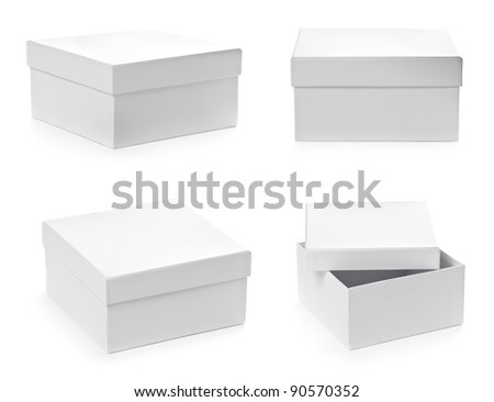 Set of square pasteboard gift boxes isolated on white background with clipping path. Different views.