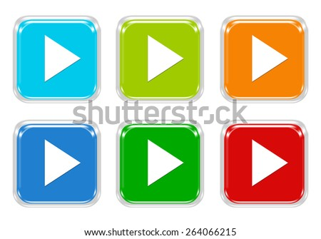 Set of squared colorful buttons with arrow symbol in blue, green, red and orange colors
