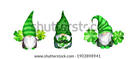 Set of St Patrick day gnomes in striped and decorated hats with four leaves clovers - luck symbols. Watercolor green scandinavian dwarfs collection, bundle in celtic, irish style Сток-фото ©