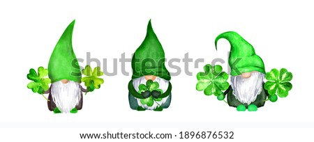Set of St Patrick day gnomes with 4 leaves lucky clovers. Watercolor green nordic dwarf collection, bundle Photo stock ©