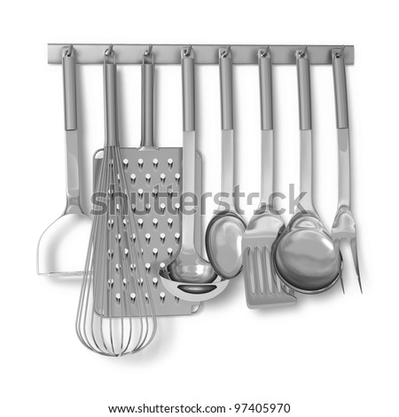 Set of stainless steel cooking utensils on rack on white background