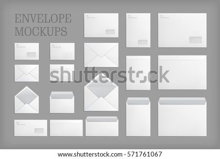 Set of standard white paper envelopes for office document or message. Empty mockups. White empty mail envelope with transparent window. Full and folded A4 size. Illustration on gray background