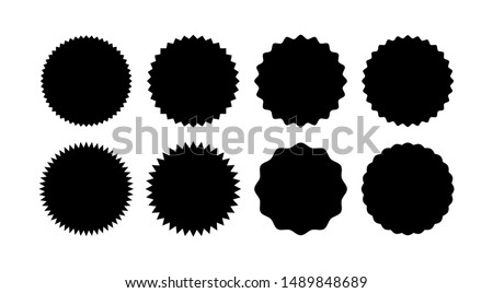 Set of starburst badges. Sunburst stickers. Black and white labels