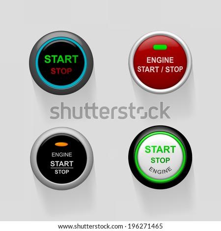 Set of start stop engine buttons (illustration)