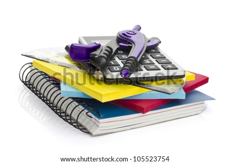 Set of stationery items. school accessories