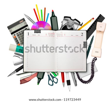 Set of stationery with business diary on top isolated on white