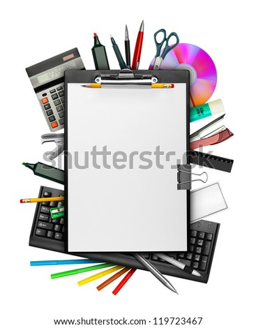 Set of stationery with clipboard on top isolated on white