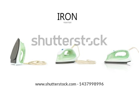 set of steam iron isolated on white background. iron housework ironed electric tool clean white background. ironing steam housekeeping.