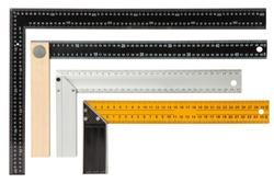 Set of steel framing setsquares isolated on white background.