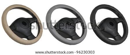 set of steering wheels isolated on the white