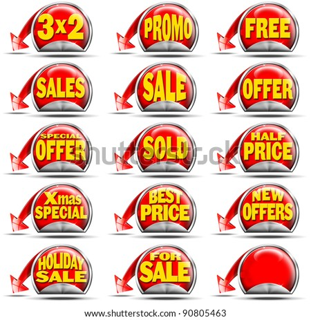 Set of stickers for sale with advertisements and red arrow