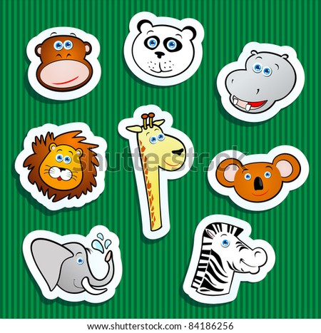 Set of stickers with jungle subjects