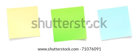Set of sticky notes on white background