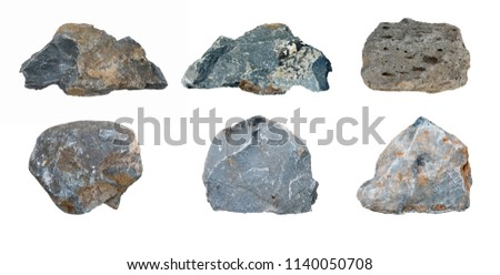 Set of stones isolated on white background.ten of stones isolated on white background.collection of stones isolated on white background. stock photo