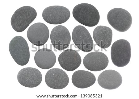 Set of stones of a round form are isolated on a white background - stock photo