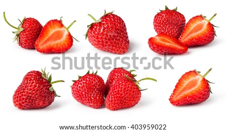 Shutterstock set of Strawberries. Isolated on a white background. Collection