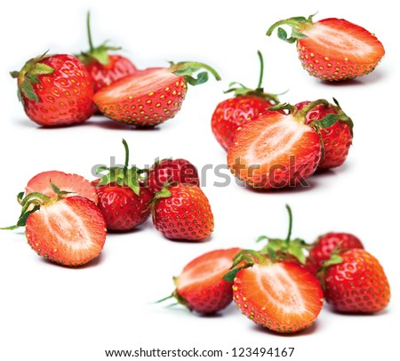 Set of strawberry isolated on white background - stock photo