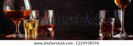 Set of strong alcoholic drinks in glasses and shot glass in assortent: vodka, rum, cognac, tequila, brandy and whiskey. Dark vintage background, banner, selective focus #1224938596